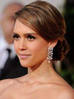 Jessica Alba Elegant and Sleek Low Hairstyles Updos Side Swept 2014 with Neat and Well Arranged
