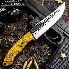 ALONZO KNIVES USA CUSTOM HANDMADE TACTICAL HUNTING HAMMERED1095 KNIFE CORELON458 #AlonzoKnives