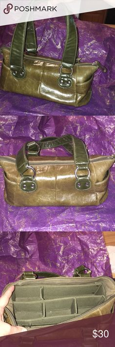 Butler Bag with built in organizers Olive green leather butler bag by Jen  Grover. built d1f94ad2512