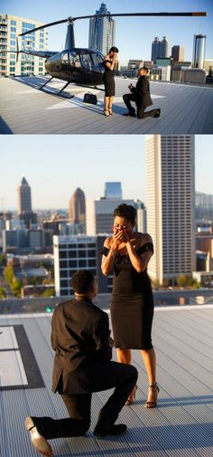 Swooning over this romantic rooftop proposal! They took photos after landing the helicopter, and then she got on one knee.