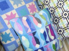 https://flic.kr/p/bovph7 | A trio of cushions | I've just started a new blog dedicated to all things needlepoint.  It'll take shape over the next few days/weeks, so I hope you'll stop by.  It's called www.needlepointcafe.wordpress.com  Valerie x  March 2012..............................  POSTSCRIPT:   Hmm that blog didn't work out, so I've moved to www.nobuntingnocupcakes.weebly.com   (Aug 2013)