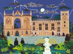 amanda-awhite:  Night Visitors, Newstead Abbey(Byron's family seat)Cut paper collage by Amanda Whitewww.amandawhite-contemporarynaiveart.com