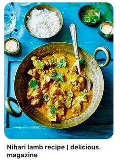 Naved Nasir's family recipe for traditional Nihari curry combines lamb cardamom fresh ginger and turmeric to make a rich dish that's bursting with Indian flavours. Fresh Coriander, Fresh Ginger, Lamb Recipes, Curry Recipes, Food Lab, Gluten Free Rice, Vegetable Puree, Garam Masala, Naan