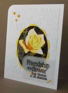 photo as focal point . yellow rose photo cut into oval shape and matted with big scallop oval . luv the double layer of vellum that makes a base for the sentiment . Homemade Greeting Cards, Homemade Cards, Rose Photos, Friendship Cards, Penny Black, Yellow Roses, Flower Cards, Photo Cards, Scrapbook Pages