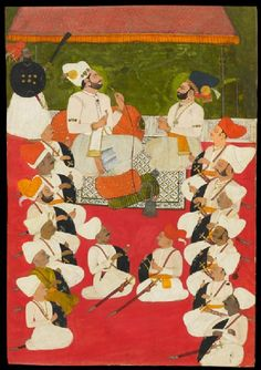 Style: Rajasthani; Type: Portraiture, court life, and mythological scenes - Scenes of court life; Title: 'Rathor noblemen in durbar', Jodhpur, 1750-1760