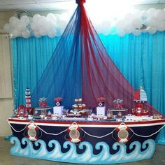 muy genial este Candy Bar sea para fiesta Pirata o Marinera. Richelle, Brigette, Carrie, Christy don't your think this is a great look! Party Decoration, Baby Shower Decorations, Boy Birthday Parties, Baby Birthday, Sailor Birthday, Birthday Ideas, Boy Baby Shower Themes, Baby Boy Shower, Shower Party