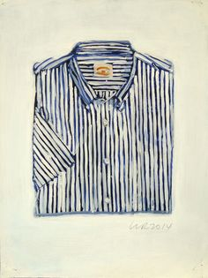 Paddle8: Brooks Brothers Blue and Nacy Stripe Short Sleeve Shirt - Walter Robinson