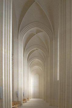 Elegance - Interior shot of Gruntvig's Kirke, Copenhagen, Denmark. Kirke is Danish for Church. Art Et Architecture, Beautiful Architecture, Beautiful Buildings, Beautiful Places, Enterprise Architecture, Parametric Architecture, Russian Architecture, Creative Architecture, Beautiful Pictures