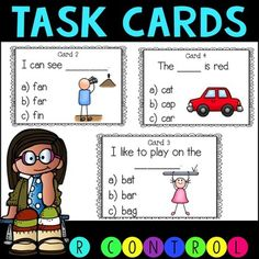 FREE!! These task cards are great for both phonics and reading comprehension. Students have to read sentences and determine the correct word that completes the sentence. Perfect for first grade or for students in RTI in second grade.