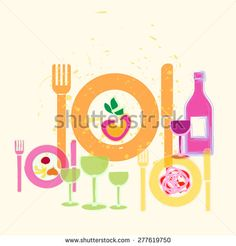 Food and Drink illustration   - stock photo