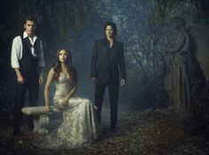 Ian Somerhalder, Paul Wesley, Nina Dobrev Characters: Elena Gilbert, Damon Salvatore Stefan Salvatore  in The Vampire Diaries