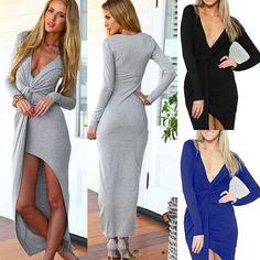 Womens Sexy V Neck Split Long Sleeve Maxi Dress