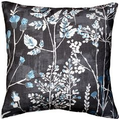 The Field of Dreams Dusk Throw Pillow features delicate branches and blossoms in soft blue and white shades against an espresso background. Buy Pillows, Sofa Pillows, Throw Pillows, Pillow Inserts, Pillow Covers, How To Clean Pillows, Field Of Dreams, Pillow Arrangement, American Decor