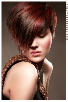 Hair Style: For this hairstyle, the hair is straight and has been layered. This look is chic and cute. The hair has all been brushed forward so that it looks like long bangs at the front. Hair Cut: This haircut is short with the ends, choppy cut. Hair Colour: The hair colouring is brown with highlights of auburn.