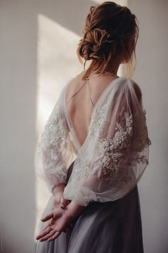 Back view portrait of blond woman in beautiful dress with embroidery on sleeves by Liliya Rodnikova - Stocksy United Creative Portrait Photography, Creative Portraits, Photography Ideas, Bridal Dresses, Wedding Gowns, Prom Dresses, Pretty Dresses, Beautiful Dresses, Moda Boho
