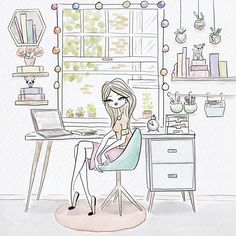 Creative workspace  for women. illustration: Paula Romani
