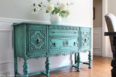 Items similar to SOLD! Antique BERNHARDT Ornate Jacobean Hand Painted French Country Cottage Chic Distressed Turquoise / Aquamarine Buffet Sideboard on Etsy Wood Buffet, Sideboard Buffet, French Country Cottage, Cottage Chic, Home Bar Rooms, Vintage Buffet, Bernhardt Furniture, Old World Style, Chalk Paint Furniture