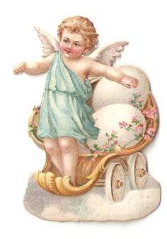 Victorian Die Cut Easter Cupid Angel Cart Egg Antique Scrap
