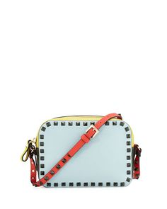 V2RCK Valentino Rockstud Four-Color Camera Bag, Blue/Yellow/Orange/Green