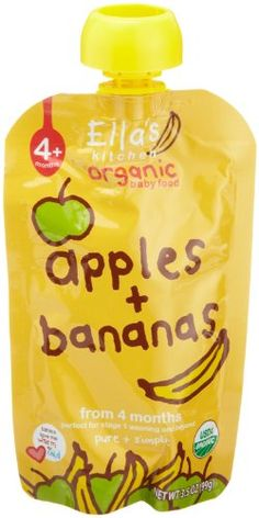 $13.90-$16.16 Baby Ella's Kitchen Organic Baby Food Apples + Bananas (4+months, 3.5-Ounce Pouches (Pack of 7) - These are very different from any other baby food on the supermarket shelves for not only do they contain nothing, absolutely nothing, but pureed organic fruits and vegetables, they have been gently pasteurised and popped into our unique pouches that are so easy when you are out and ab ...