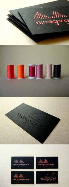 Handmade Thread Embroidered Cards Unique & personal handmade thread embroidered business cards. Hand stitched typography has created another unexpected graphic form. At this stage I started to experiment with thread embroidering letters on paper. Cards are handmade in limited edition, thread can be any color that matches well with 250gsm black paper