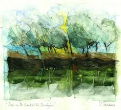 Shirley Trevena / Trees on the Bank at the Dordogne - Watercolour & Oil Pastel 27 x 35 cm