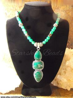 Emerald & Green Jade Necklace  Emerald Necklace by StarshineBeads