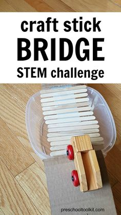 Challenge kids to construct a bridge with craft sticks and tape. Design and build a bridge that can support a toy car. Protect your vehicle from the water in the lake below the bridge! #scienceforkids #preschoolactivities