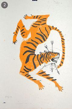 Tiger - illustration by Marion Jdanoff Tiger Illustration, Engraving Illustration, Creative Illustration, Book Art, Animal Drawings, Art Images, Jaguar, Art Inspo, Printmaking