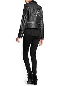 MANGO - CLOTHING - Jackets - Studded flag leather jacket