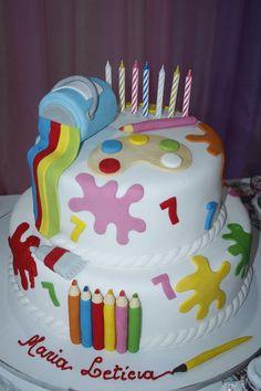 Bolo pintando o 7. Da cake designer Cândida Art Birthday Cake, Baby Birthday Cakes, 3rd Birthday Parties, Kids Art Party, Craft Party, Artist Cake, Foundant, Party Hacks, Painted Cakes