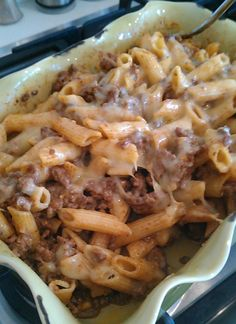 Taco Pasta Bake | FOOD AND COOK ~3/4 bag (3/4 lb.?) pasta, 1 c. Hamburger, cooked, add 1 c. Water & 1 packet taco seasoning, simmer. Add 1/2 block of cream cheese & mix until melted. Stir in 1 c. shredded cheese. Mix altogether. Pour in greased casserole dish. Top with 1/2 c. shredded cheese. Bake 350, 30 min.