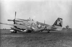 """From the archives of the 20th Fighter Historical Group: 55th FS P-51D-5-NA 44-13827 KI-R on the flight line at Kingscliffe late summer 1944. This aircraft was originally assigned to Lt. W. Wells and then to Lt R. Howard who named her """"Rondelle"""". Her crew chief was T/Sgt. C. Kilpatrick."""