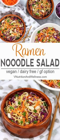 Vegan Ramen Noodle Salad  | This colorful Vegan Ramen Noodle Salad is perfect for BBQs, potlucks or even to brighten a regular meal. It's so easy to make, healthy and a fun twist on lunch or dinner.  ramen noodle salad, vegan salad, gluten-free, dairy-free, vegan recipe, vegetarian  via @VNutritionist