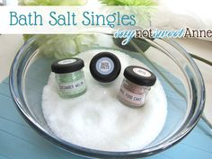 Mini Bath Salt Singles from Say Not Sweet Anne.  These would be a great end-of-the-year teacher gift (along with some soap, of course!).