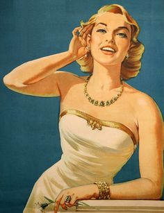Listening for the sound off music in the air. She was on a poster for Tesla Radio. Nikola Tesla was an early pioneer in the days of radio. Pin Up Vintage, Pub Vintage, Vintage Modern, Retro Pin Up, Poster Ads, Advertising Poster, Radio Advertising, Retro Ads, Vintage Advertisements