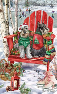 "New for 2011! Schnauzer Christmas cards are 8 1/2"" x 5 1/2"" and come in packages of 12 cards. One design per package. All designs include envelopes, your personal message, and choice of greeting. Select the inside greeting of your choice from the menu below.Add your personal message to the Comments box during checkout."
