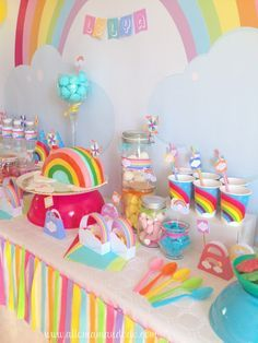 Rainbow birthday parties are trending and oh so fun! Check out how this mom put one together with ideas so affordable, we have to try it! Rainbow Parties, Rainbow Birthday Party, Unicorn Birthday Parties, First Birthday Parties, Birthday Party Themes, First Birthdays, Birthday Kids, Themed Parties, Birthday Photos
