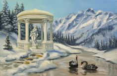 Black Swans winter gazebo 24x36 original oils on by rustyart, $149.00