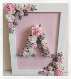 New ideas baby diy room ideas shower gifts Diy Bebe, Creation Deco, Floral Letters, Christening Gifts, Shower Gifts, Etsy, Paper Flowers, Paper Dahlia, Diy Gifts
