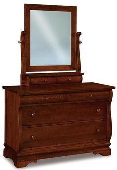 Amish Chippewa Sleigh Four Drawer Dresser with Optional Mirror Four spacious drawers expertly built with charming sleigh curves. The Chippewa is handcrafted in Amish country. Built in choice of wood and stain. #dresser #bedroom