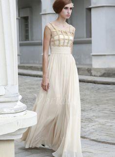 Abendkleider - $146.99 - A-Linie/Princess-Linie U-Ausschnitt Bodenlang Chiffon Abendkleid mit Rüschen Perlen verziert (0175056361)