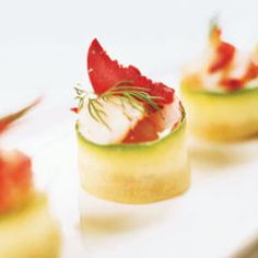 Cucumber-Wrapped Croutons with Cauliflower Mousseline and Lobster  Recipe - Saveur.com  #saveur  #dinnerparty