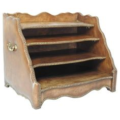 Tierd Brown Leather Desk Organizer with Brass Stud Trim | From a unique collection of antique and modern desk accessories at https://www.1stdibs.com/furniture/decorative-objects/desk-accessories/