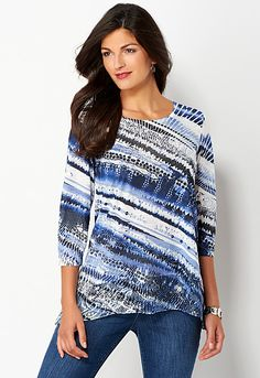 Abstract Stripe Printed Tee, 9-0036262036, Abstract Stripe Printed Tee Main View PDP