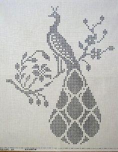 Peacock and Trellis Filet Crochet Pattern Cross Stitch Bird, Cross Stitch Animals, Cross Stitch Flowers, Cross Stitching, Cross Stitch Embroidery, Embroidery Patterns, Funny Cross Stitch Patterns, Cross Stitch Charts, Cross Stitch Designs