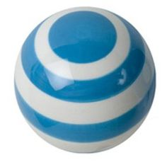 Turquoise & white Striped Ceramic Drawer Pull ....other color available