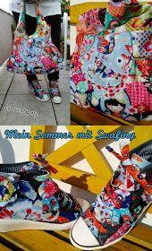 """Mein Sommer mit Swafing: hol mir den Sommer mit """"Geisha""""-Stoffen... Schuhe costumized und Tasche dazu genäht - fertig ist das sommerlich bunte Outfit"""