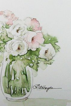 This is an original watercolor painting of a bouquet of white and pink roses. The colors are soft pastel pinks and greens and white, and it would go