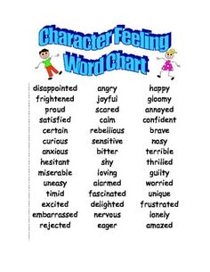 Character Feeling Word Chart to increase student vocabulary! Just place a copy in each child's reader's notebook!